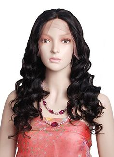 Mike & Mary Lace Front Human Hair Wigs for Black Women Body Wave Top 7A Virgin Brazilian Hair Wigs Free Part with Baby Hair (22inch, #1 Jet Black)