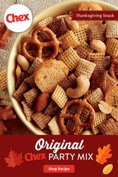 Everyone loves a seasonal classic! One handful of Original Chex™ Party Mix and the nostalgia will bring you back to holidays from year's past. Get your party started with homemade Chex™ Party Mix—still a family favorite after all these years. Party Mix Recipe, Chex Party Mix, Snack Mix Recipes, Chex Recipes, Recipies, Snack Mixes, Thanksgiving Snacks, Easy Holiday Recipes, Snacks Für Party
