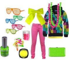 80s Neon Fashion. Note the sunglasses. I saw someone wearing those at a gas station the other day. I must find a pair