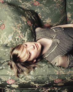 Floral green sofa fabric