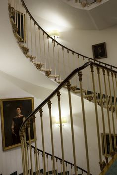 Beautiful staircase with portraits of the owner's family