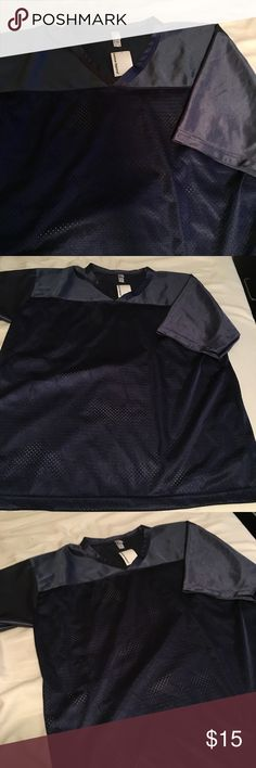 NWT Navy American Apparel Mesh Jersey Brand new with tags! So cute for sporting events. American Apparel Tops Tees - Long Sleeve