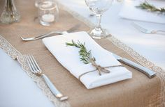 burlap, lace, twine, and rosemary! simple place setting...you can use different herbs like lavender, thyme, oregano, etc...