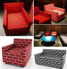 sebastian wrong and richard woods - 'bricks & mortar' furniture, interior design, home decor, furniture, couches, sofas, chairs, seating, bricks, patterns, red, black, white