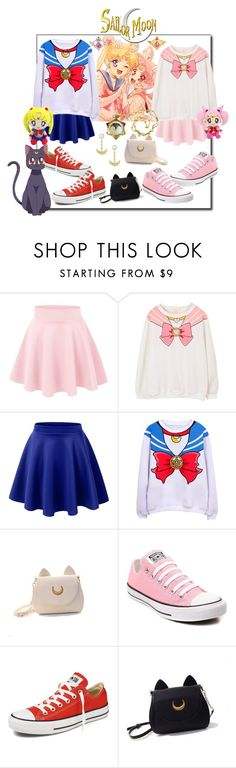 """Sailor Moon and Chibi Moon (Anime Set 4)"" by wittysummer24 ❤ liked on Polyvore featuring cutekawaii, LE3NO, Usagi and Converse"
