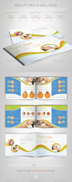 Beauty Spa  Wellness - Brochure Template  #GraphicRiver        [ Spa  Wellness – Brochure Template] includes:  Closed Size : A4 + 6mm Bleed(landscape), CMYK Print Ready.   6 pages in total – 2 color themes included.  2 InDesign CS5.5 files – 2 Color themes : Orange  Green/ Red  Brown (chocolate)  2 IDML files for InDesign CS4 or higher.  Well-organized Paragraphy Styles and Easy to customize  Excellent for your multipurpose corporate usage.  Font used: Lato,Steelfish,Masterics   Exclusive…