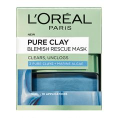 L'Oreal Paris Pure Clay Blemish Rescue Mask features a powerful blend of 3 Pure Clays combined with Marine Algae Extract.  Targeted towards for spot/blemish prone skin, the L'...