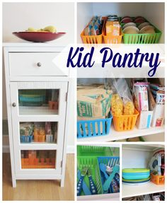 Creating a kid pantry is easy to do with bags of portioned cereal, granola bars, applesauce, juice and other snacks that are perfect for grab and go!