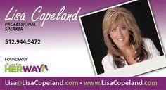 Business card design for Professional Speaker Lisa Copeland Business Card Design, Business Cards, Lisa, Visit Cards, Carte De Visite