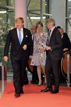 (L) King Willem Alexander of Netherlands, Queen Mathilde, King Philippe of Belgium (not seen) arrive to the opening ceremony of the 2016 Frankfurt Book Fair (Frankfurter Buchmesse) on October 18, 2016 in Frankfurt am Main, Germany. The 2016 fair, which is among the world's largest book fairs, will be open to the public from October 19-23.