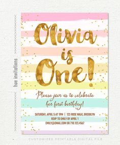 rainbow 1st birthday invitation for girl pastel by hueinvitations