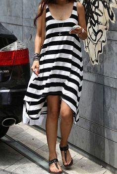 Black White Striped Sleeveless High Low Dress