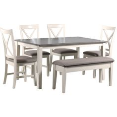 You'll ❤ The Powell Jane 6 Piece Dining Set White Restoration Finish Grey Fabric Dining Table Redo, Grey Dining Tables, Kitchen Table Bench, Dinning Set, Farmhouse Kitchen Tables, Grey Table, Kitchen Dinning, Dining Room Sets, Table And Chairs