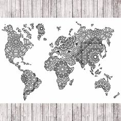 Excited to share the latest addition to my #etsy shop: Mandala world map http://etsy.me/2nGd7sc #art #print #digital #white #black #walldecor #wallart #digitalprint #drawing #worldmap