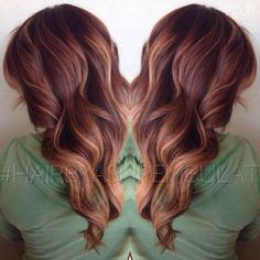 Doing this to my hair next week auburn base with blonde balayage.