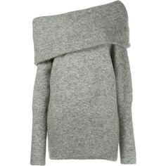 Acne Studios Daze Mohair Jumper ($370) ❤ liked on Polyvore featuring tops, sweaters, grey long sleeve sweater, gray sweaters, long sleeve sweater, one shoulder sweater and white long sleeve sweater
