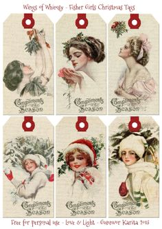 Wings of Whimsy: Fisher Girls Christmas Tags - free for personal