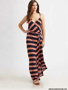 Stripe Ruffle Maxi Dress / ADDISON