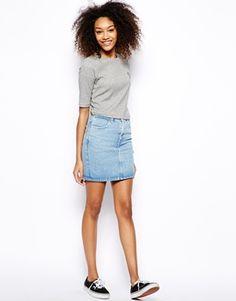 American Apparel High Waist Denim Skirt | ASOS