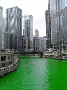 St. Patricks Day the chicago river being green