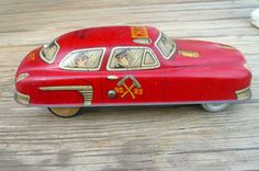 Vintage Toy Fire Chief Tin Litho Car Rare by VintageReinvented, $80.00
