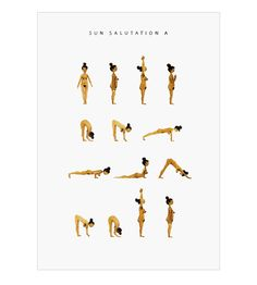 """Sun salutation A poster is a part of Marie Jørgensen's yoga poster series. It shows the basic yoga sequence """"sun salutation A"""". These digital prints are originally made with watercolor and love for yoga and the human body in all kinds of shapes and forms. sold without frame. Printed on 140g natural white recycled paper that is eco and FSC certified. A3 posters are shipped in a hardback envelope. 50 x 70 are shipped in a cardboard tube."""