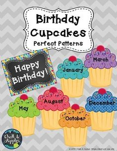 """Use these adorable cupcakes to create a birthday display on your wall, door, or bulletin board. Includes cupcakes for each month, a """"Happy Birthday"""" heading, and a bonus birthday page perfect for your teacher binder. Matches the rest of my Perfect Patterns theme."""