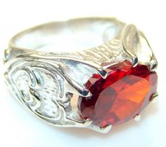 Lovely Red Garnet Quartz Sterling Silver Ring s. 7