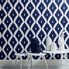 Kelly Hoppen Blue Kelly Hoppen kellys ikat wallpaper | Debenhams