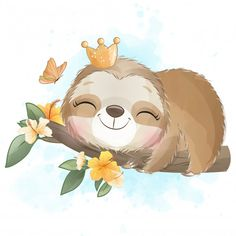 Cute Sloth Sleeping Hanging In The Tree Baby Animal Drawings, Cute Drawings, Watercolor Flower Background, Flower Watercolor, Watercolor Trees, Watercolor Portraits, Watercolor Landscape, Watercolor Painting, Sloth