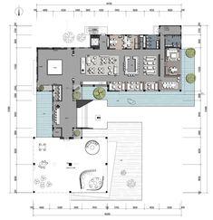Office Interior Design, Office Interiors, Interior Design Living Room, Restaurant Plan, Layout Design, Coffee Shop, Plane, Villa, Floor Plans