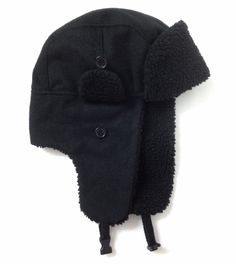 017f6ad3a9ec9 new nwot AVIATOR TRAPPER WINTER HAT Black Hunting Outdoor Ski  Faux-Shearling Men  Unbranded  AviatorTrapper