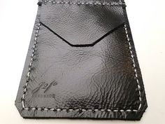 Black Leather Pocket Protector sleeve small by G2Pleather on Etsy