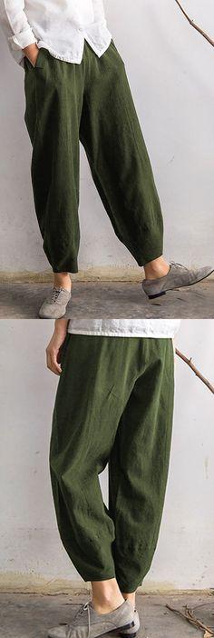 Vintage Elastic Waist Pure Color Pocket Pants for Women #pants #harempants #fashion