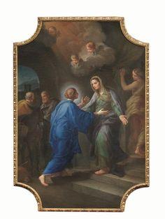 Stefano Pozzi (Roma 1699-1768) LA VISITAZIONE olio su tela sagomata agli angoli, cm 117x88 cornice originale intagliata e dorata