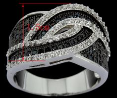 FREE SHIPPING WORLDWIDE - Brand New White&Back Woven Design Ladies Wedding Party Ring Online selling Cubic Zirconia Hand Made Pave Setting Platinum Plated