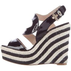 Pre-owned Brian Atwood Patent Leather Espadrille Wedges ($130) ❤ liked on Polyvore featuring shoes, sandals, black, black espadrilles, wedge espadrilles, patent leather sandals, black sandals and black wedge sandals