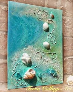 Gardens Discover Ideas For Beach Art Painting Artworks Sea Shells Art Plage Art Diy Seashell Art Beach Crafts Diy Crafts Beach Themed Crafts Glue Gun Crafts Beach Themes Mixed Media Art Seashell Art, Seashell Crafts, Beach Crafts, Diy Crafts, Crafts With Seashells, Decor Crafts, Mixed Media Canvas, Mixed Media Art, Art Plage