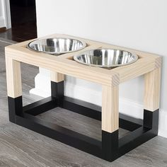 Learn how to build a DIY raised dog bowl stand with a simple and modern design. The free DIY dog bowl stand plans show you how to build it . Awesome Woodworking Ideas, Easy Woodworking Projects, Woodworking Furniture, Woodworking Plans, Diy Furniture, Woodworking Beginner, Building Furniture, Woodworking Joints, Furniture Storage