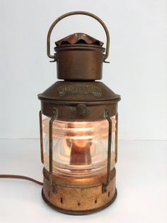 Vintage Ankerlicht DHR Den Haan Rotterdam Nautical Brass Ship Boat Lantern Maritime Light Lamp Industrial Lighting Beach Minimalist
