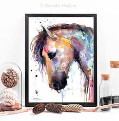 Beautiful Horse watercolor painting print by Slaveika Watercolor Horse, Watercolor Animals, Watercolor Paper, Watercolor Paintings, Original Paintings, Cow Drawing, Beautiful Horses, Canvas Frame, Painting Prints