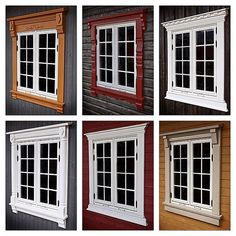 No photo description available. Exterior Window Molding, Window Molding Trim, Moldings And Trim, House Paint Exterior, Exterior Design, Village House Design, House Front Design, Door Design, Outdoor Window Trim