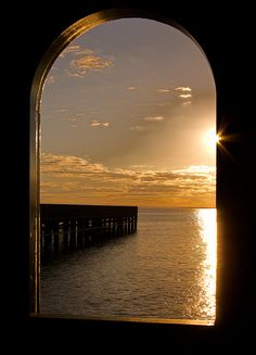 Through the Window the ocean calls. Beautiful Sunset, Beautiful World, Beautiful Places, Beautiful Pictures, Looking Out The Window, Through The Looking Glass, Window View, Through The Window, Jolie Photo