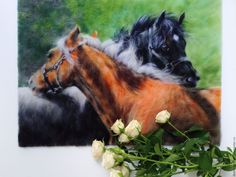 """Купить """"Ромео и Джульетта"""" - зеленый, любовь, лошадка, лошади, лошадь, картины с животными, кони, забота"""