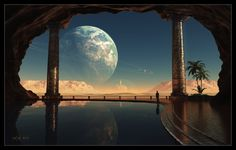 Caves of Tau Ceti Picture  (3d, sci-fi, planet, ring, moon, mountain, desert, cave, sand, pool, landscape)