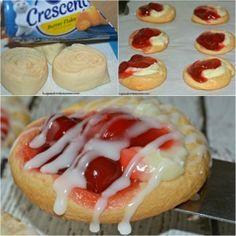 Mini Cherry Cheese Danishes Pillsbury cherry cheese danish are so delicious and easy to make. Köstliche Desserts, Best Dessert Recipes, Delicious Desserts, Yummy Food, Cheesecake Recipes, Homemade Cheesecake, Health Desserts, Plated Desserts, Cake Candy
