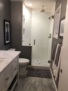 Small bathroom remodel grey and white bathroom