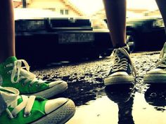 Green Converse ♥ Green Converse, Color Splash, Combat Boots, Army, Vans, Adidas, Black And White, Sneakers, Shoes
