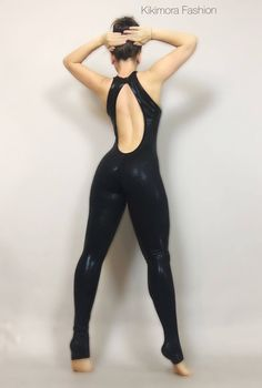 Tear drop back, Bodysuit Catsuit Costume for gymnadts Circus Dancers,black holographic lycra, Aerial silk outfit, elegant open back fashion. Sexy Outfits, Dance Outfits, Fashion Outfits, Womens Fashion, Fashion Tips, Beach Outfits, Dance Dresses, Fashion Pants, Fashion Trends
