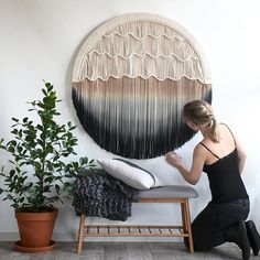 """Round Macrame Wall Hanging - Circle Tapestry - Available in different sizes - """"Seaside"""" - Rond suspension en macramé cercle tapisserie disponible en Macrame Art, Macrame Design, Macrame Projects, Earthy Color Palette, Macrame Patterns, Fiber Art, Wall Decor, Modern Contemporary, Contemporary Tapestries"""